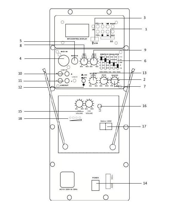 Активная акустическая система Aura A212MP3-Battery двухполосная с двумя микрофонами, для помещений до 50м2 и открытых площадок
