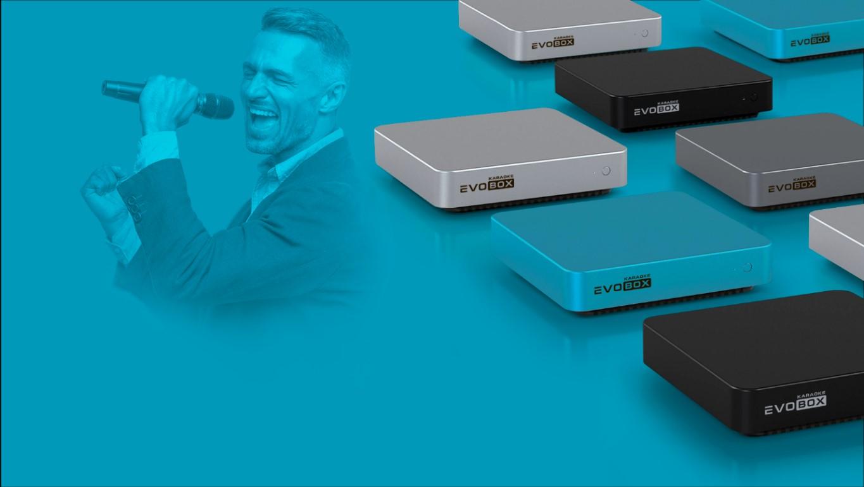 Караоке комплект для домашнего использования RESIDENT, приставка караоке Evobox Plus+Evosound Sphera акустика для дома+Evolution SE 200D беспроводной микрофон